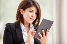 Saleswoman with tablet